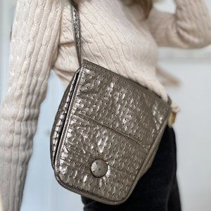 Vintage Embossed Pewter Crossbody Bag sale
